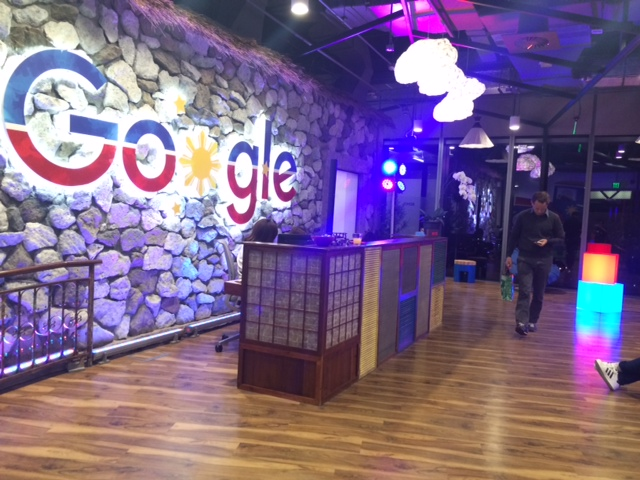 google office location. At The Main Entrance Of Facility Is A Huge Brand Logo, Which An Adaptation Specialized Logo Google Philippines Rolled Out For Independence Day Office Location